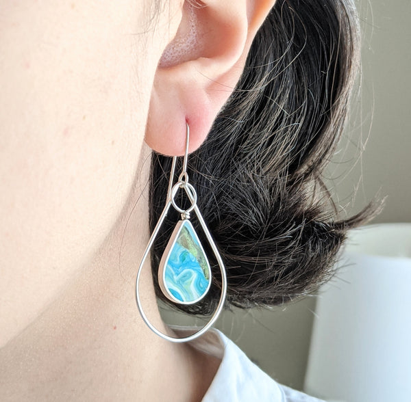 Double Teardrop Turquoise Sterling Silver Dangle Earrings