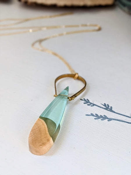 Sea Foam Teardrop Wood and Resin Necklace
