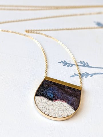 Flowing Galaxy Resin and Sand Moonscape Necklace