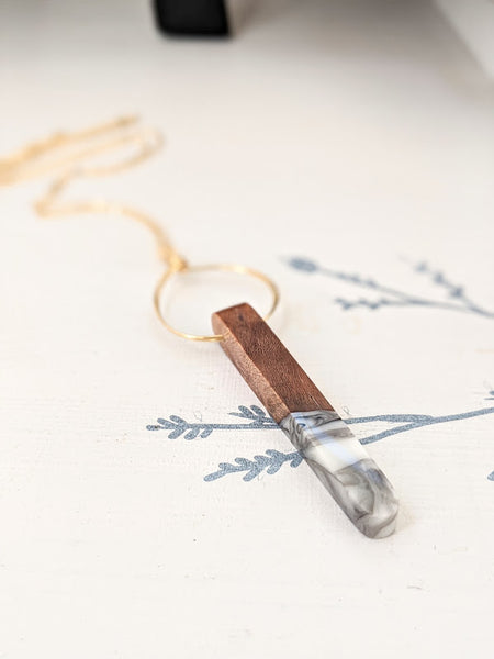 Marbled Stone Wood and Resin Necklace
