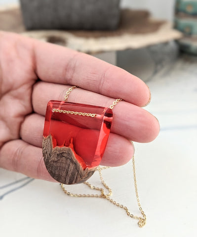 Red Skies Wood and Resin Landscape Necklace