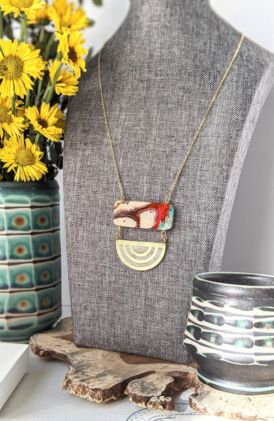 Hand Painted Red Dusk Wood and Resin Necklace - One of a Kind