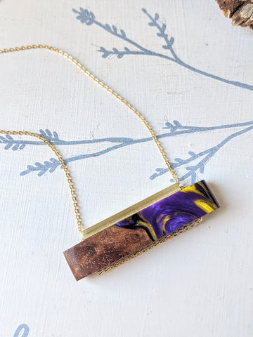 Purple Horizontal Wood and Resin Necklace