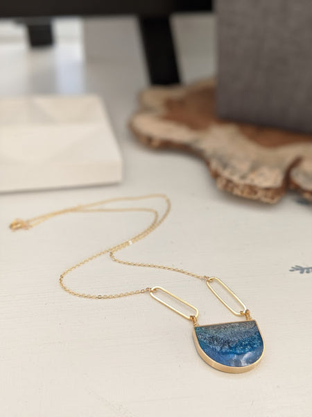 Frosted Lake U Shaped Brass and Resin Necklace