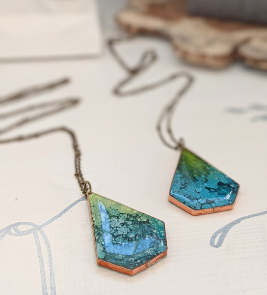 Water Lilies Copper and Resin Necklaces