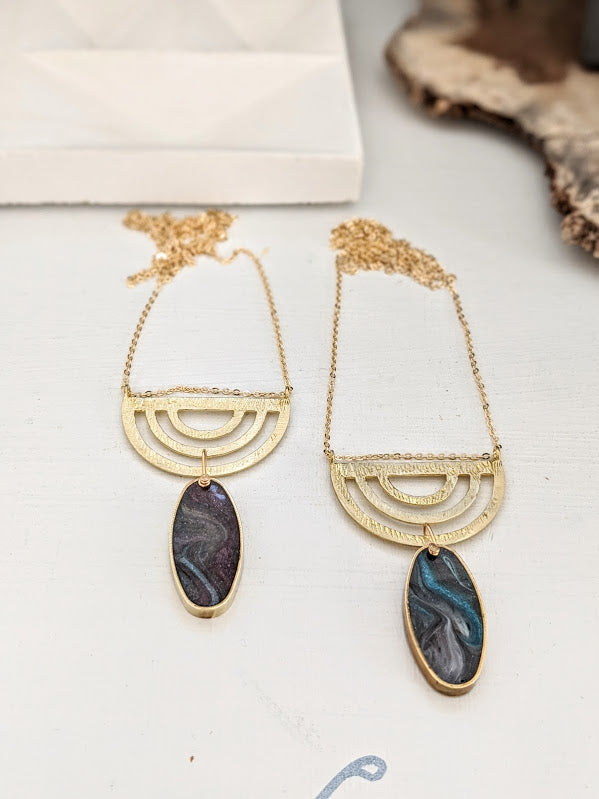 Oval Art Deco Brass and Resin Necklaces