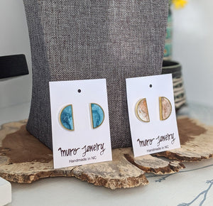 Half Moon Brass and Resin Post Earrings