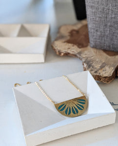 Turquoise Spanish Fan Necklace