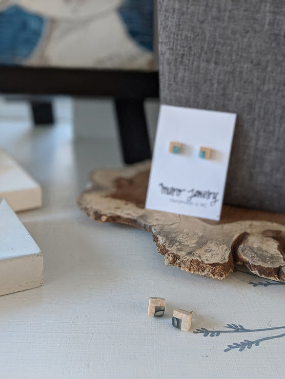Cute Baby Wood and Resin Studs