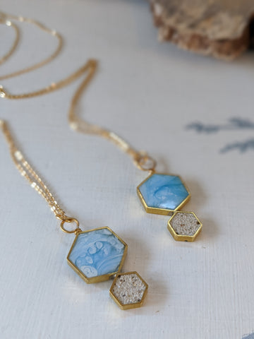 Double Hexagons Sand and Resin Necklace