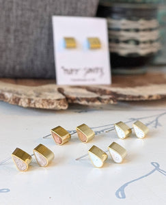 The Cutest Brass and Resin Teardrop Post Earrings