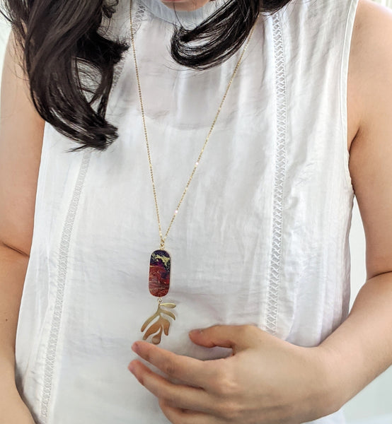Golden Red Winds - Wood and Resin Necklace - One Of A Kind