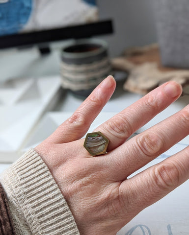 River stone Hexagon Brass and Eco-resin Ring