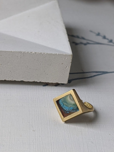 Blue Crystal Planet Diamond Brass and Eco-resin Ring