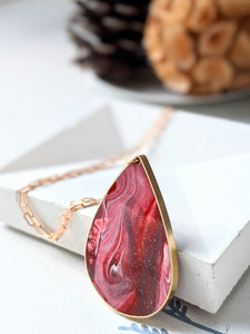 Swirling Red Marble Eco-resin Teardrop Necklace