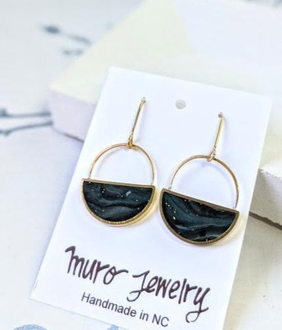 Cloudy Night Sky Half Moon Dangle Brass Earrings