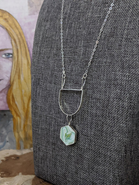 Green Marble Eco-resin Sterling Silver Necklace