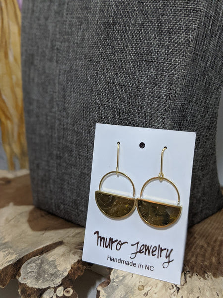 Natural Earth Half Moon Dangle Brass Earrings