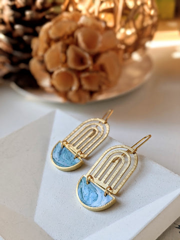 Cloudy Morning Half Moon Art Deco Dangle Earrings