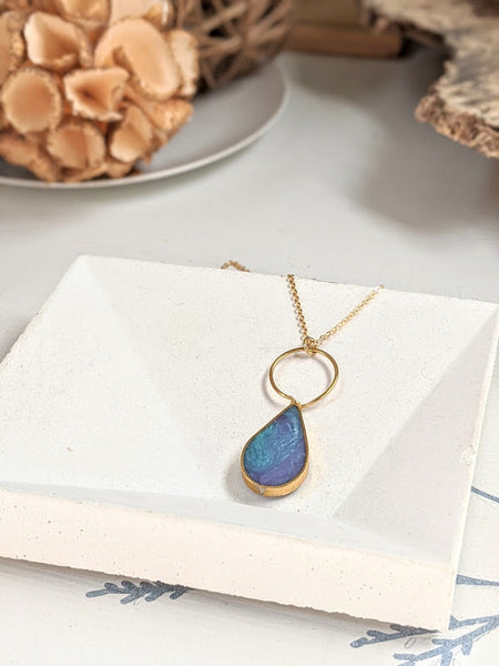 Blue and Purple Eco-resin Teardrop Necklace