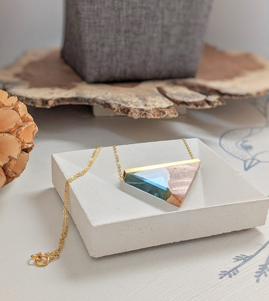 Clear Blue Sky Resin and Wood Triangle Necklace