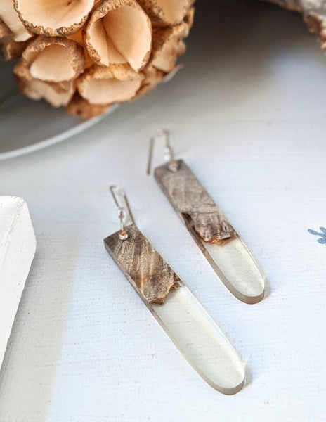 Delicate Clear Wood and Resin Earrings