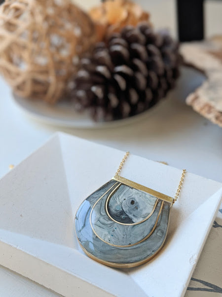 The Stone Tunnel - Inlaid Half Moon Marbled Necklace