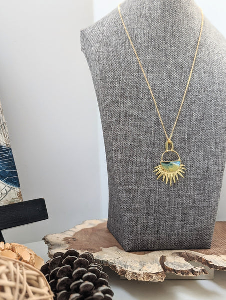 """Full Of Hope"" Sun Rays Half Moon Necklace in Ochre and Blue"