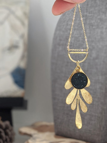 Brass Leaf and Black Resin Circle Necklace