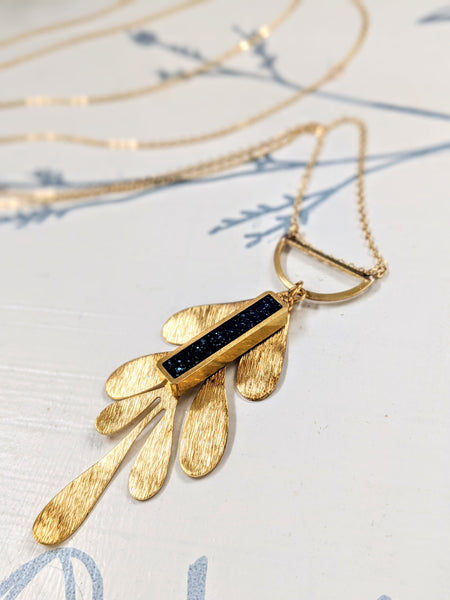 Brass Leaf and Navy Blue Resin Rectangle Necklace