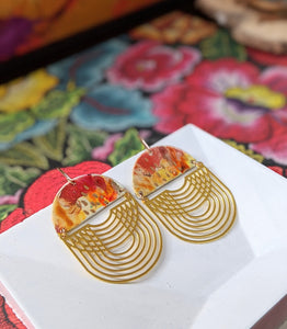 Guadalupe Red-Gold Hand Painted Brass and Sealed Gouache Paint Earrings