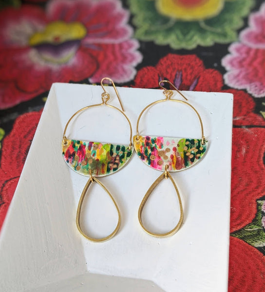 Lucía Pink-Green Hand Painted Brass and Sealed Gouache Paint Earrings