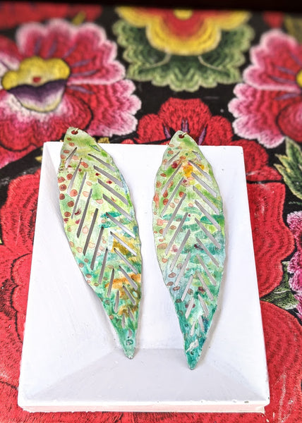 Gabriela Green Hand Painted Brass and Sealed Gouache Paint Earrings