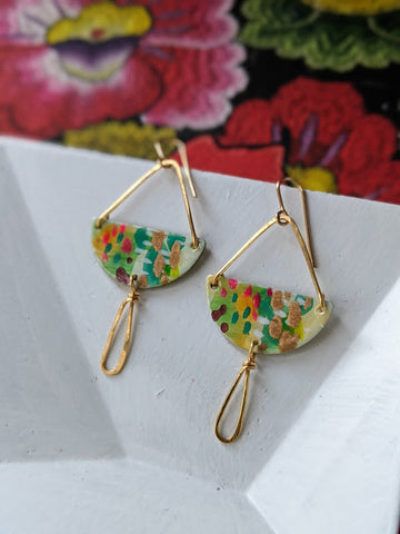 Adela Light Green Hand Painted Brass and Sealed Gouache Paint Earrings