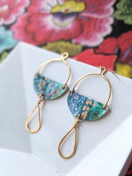 Lucía Mini- Blue Hand Painted Brass and Sealed Gouache Paint Earrings