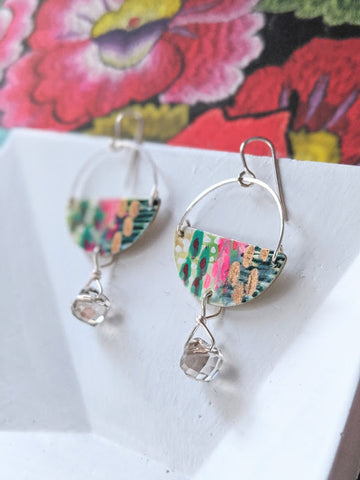 Marcela Green-Pink Hand Painted Sterling Silver and Sealed Gouache Paint Earrings