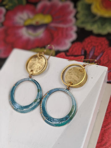 Maria Jose Sea Blue Hand Painted Brass and Sealed Gouache Paint Earrings