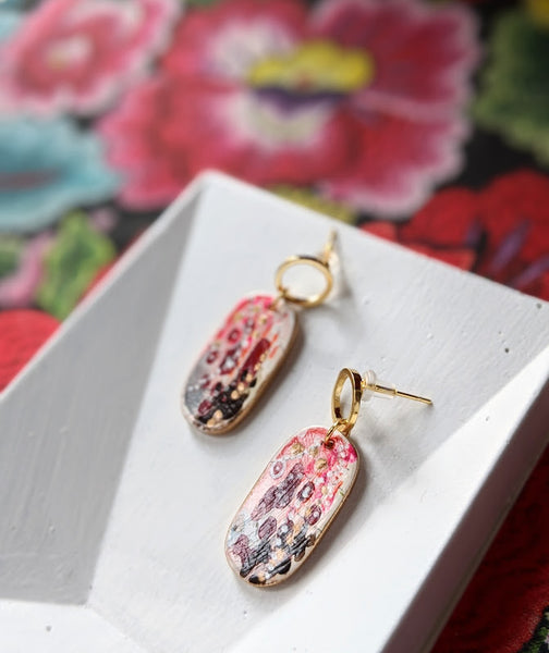 Josefina Red-Pink Hand Painted Acetate and Sealed Gouache Paint Earrings