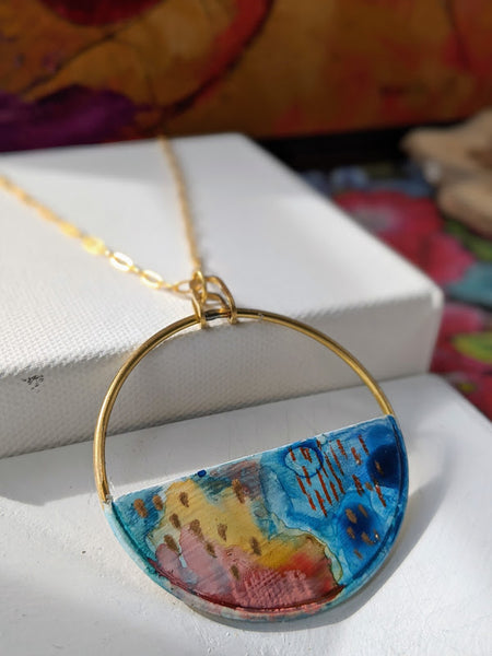 Lorena Blue-Yellow Hand Painted Brass and Sealed Gouache Paint Necklace
