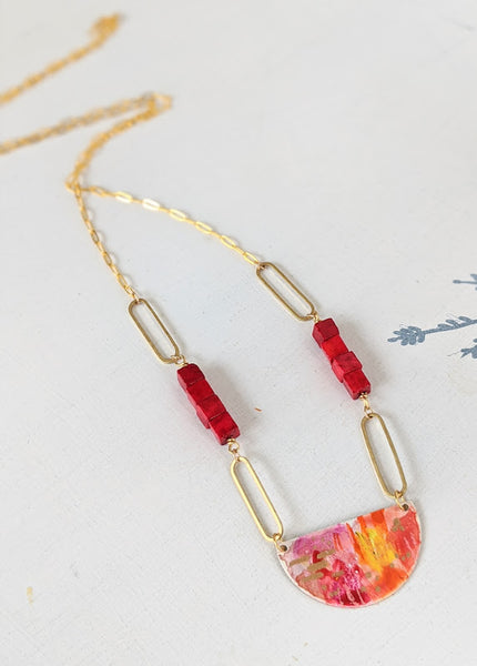 Maya Red Statement Hand Painted Brass and Sealed Gouache Paint Necklace