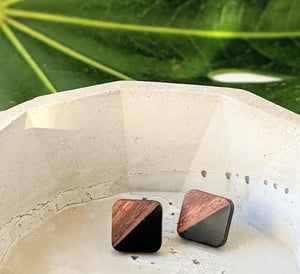 Satin Black Wood and Resin Post Earrings