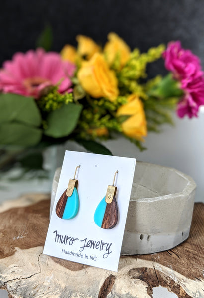 Wood and Resin Riveted Earrings - Turquoise
