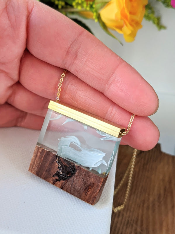 Bright Clouds Wood and Resin Necklace