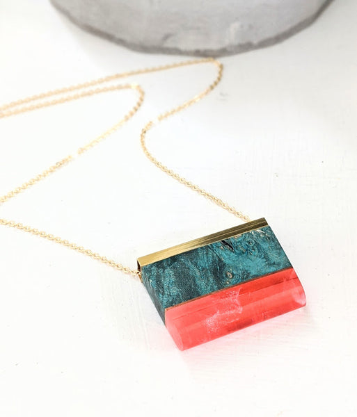 Lava Red Resin and Wood Necklace