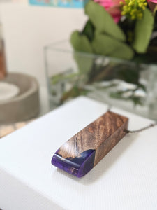 The Violet Tip Wood and Resin Necklace