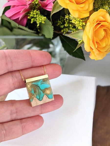 Mini Wood and Turquoise Resin Pendant