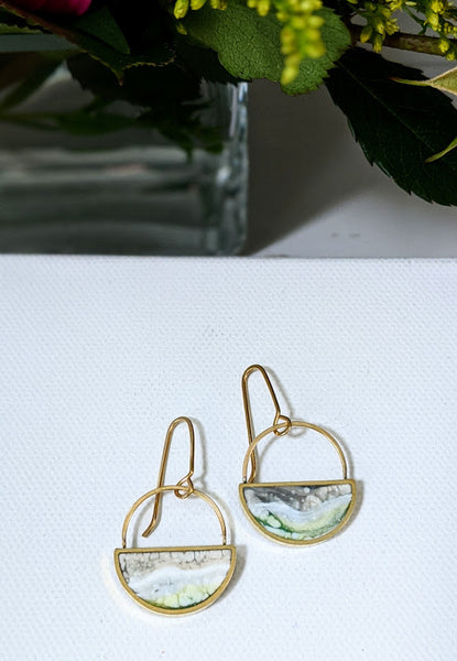 Milky Marble Dangle Resin and Brass Earrings