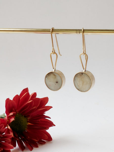 White Marble Eco Resin and Brass Dangle Earrings