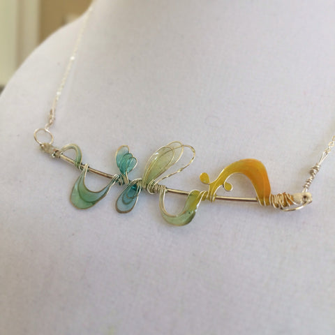 Silver Wire Multicolored Loops Resin Necklace