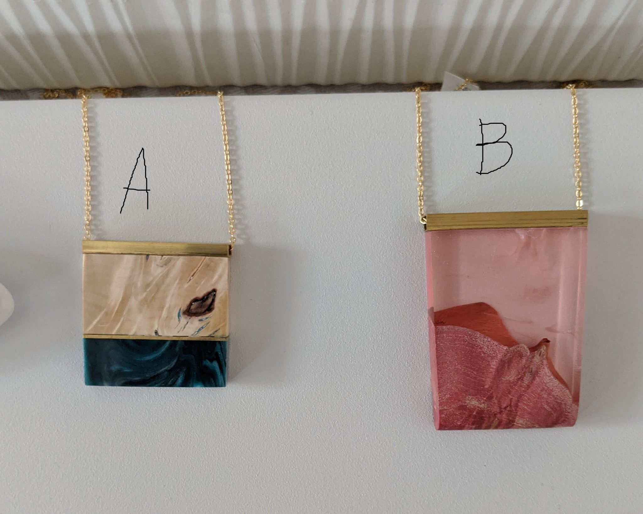 Reclaimed Wood and Resin Necklaces